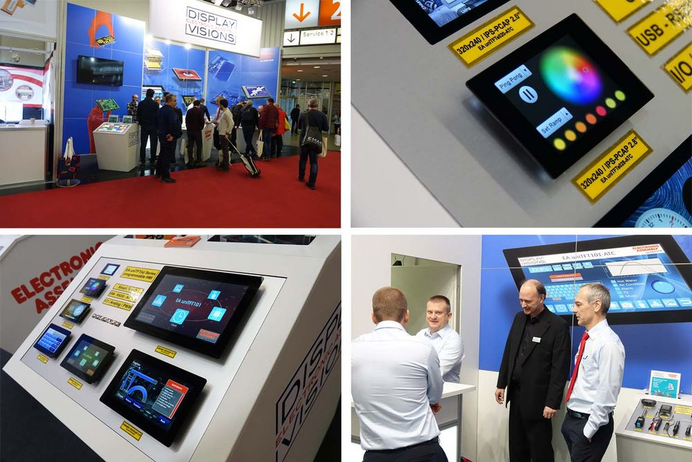 embedded world Stand mit Displays ELECTRONIC ASSEMBLY
